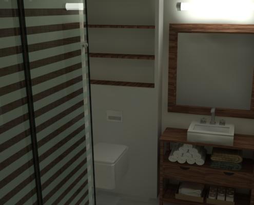 agencement de la salle de bain en vue 3D réaliste
