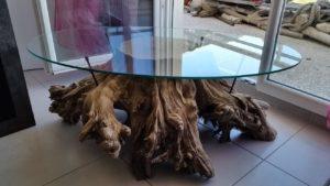 table basse souche bois flotté