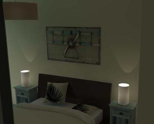 rendu 3D réaliste de l'espace chambre