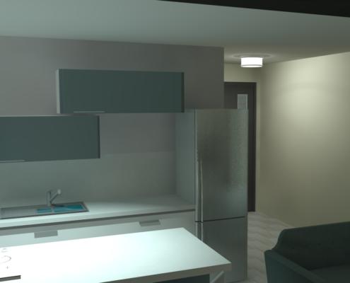 rendu 3D réaliste de l'espace cuisine